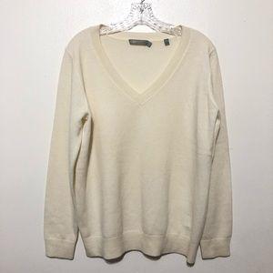 Vince V-neck 100% Cashmere Sweater Medium Cream